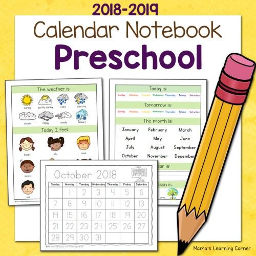 Preschool Calendar Notebook 2018 2019 8x8