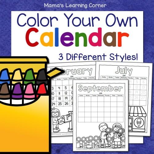 Color Your Own Calendar 2019