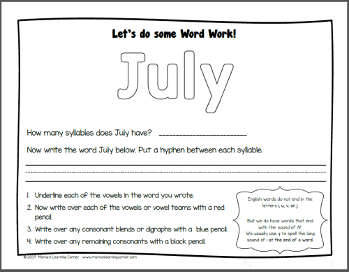 Months of the Year Worksheets