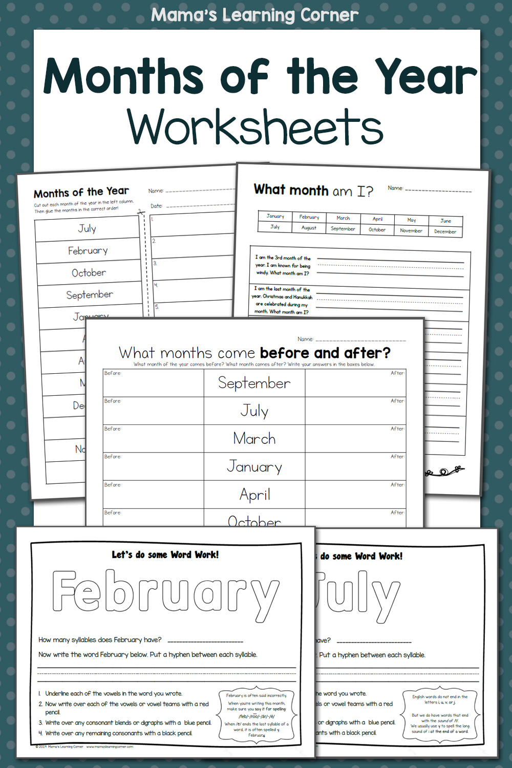 Months Of The Year Worksheets Mamas Learning Corner