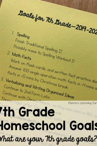 7th Grade Homeschool Goals 2019-2020