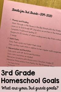 3rd Grade Homeschool Goals 2019 2020