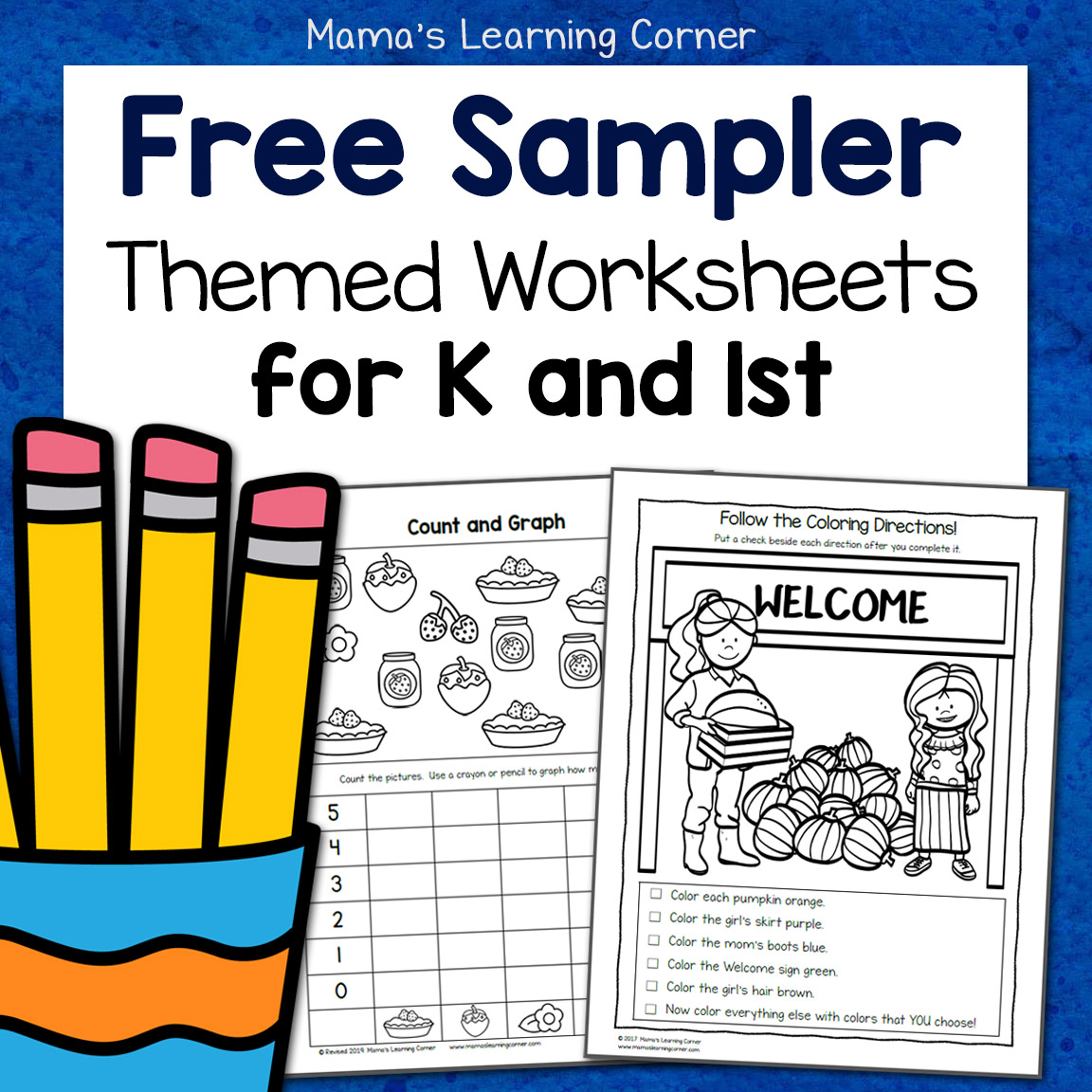 Free Kindergarten And First Grade Worksheet Sampler Packet