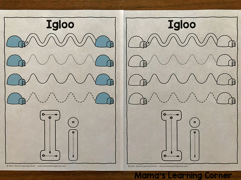 Winter Tracing Worksheets for Preschool Igloo
