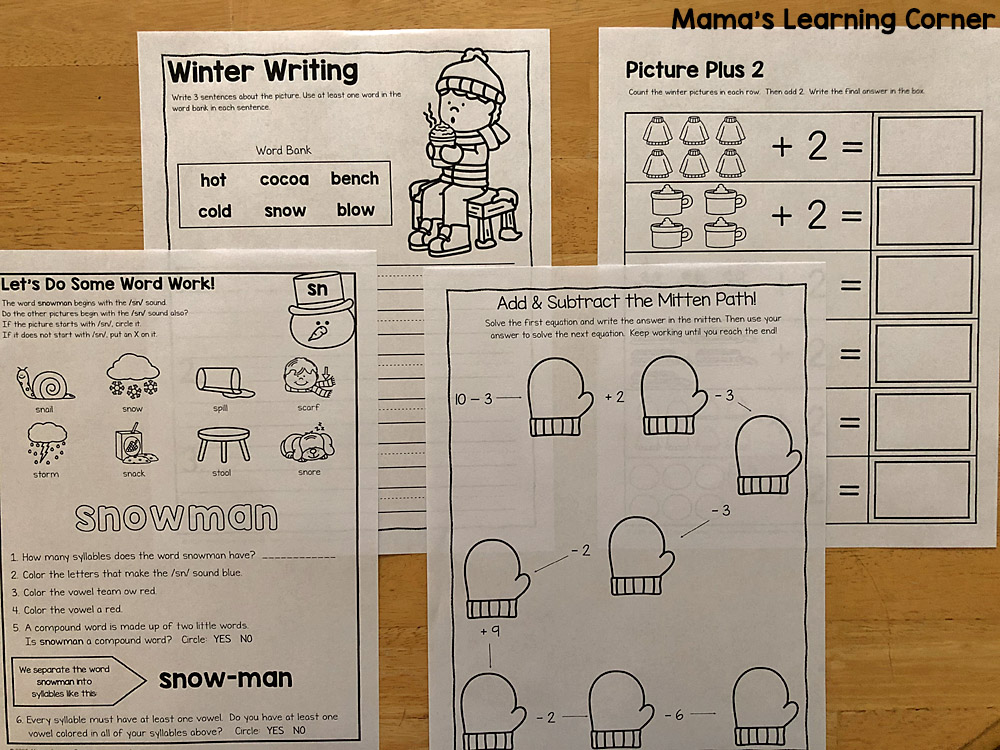 winter worksheets for K and 1st Word Work