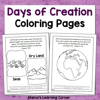 Days of Creation Coloring Pages 8x8