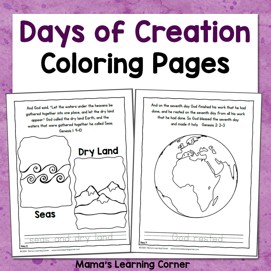 Days Of Creation Coloring Pages Mamas Learning Corner
