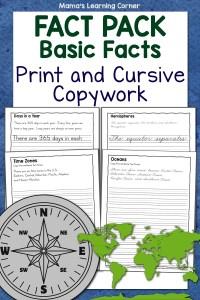 Basics Fact Pack Copywork in Print and Cursive
