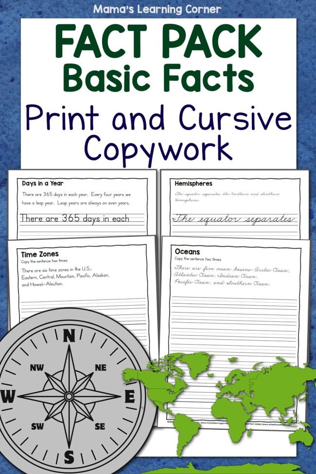 Basics Fact Pack Copywork Print and Cursive