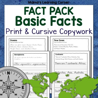 Basics Fact Pack Print and Cursive Copywork