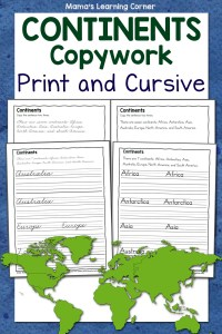 Continents Copywork in Print and Cursive