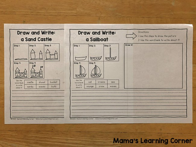 Summer Directed Draw and Write Sand Castle and Boat