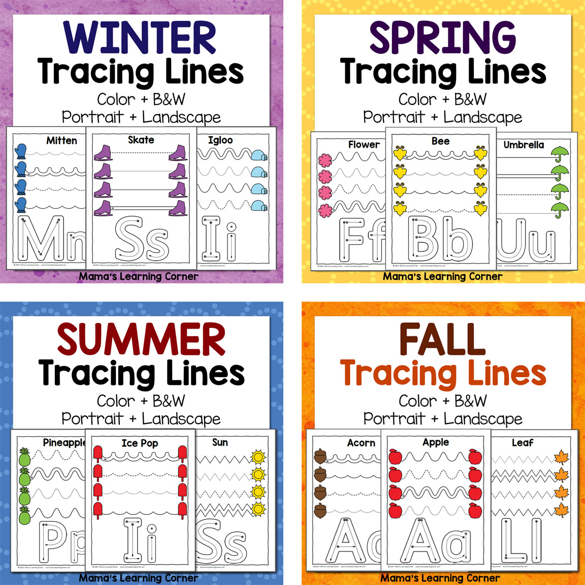 Tracing Line Worksheets For Preschool Bundle