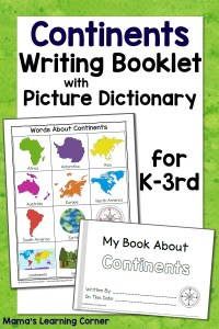 Continents Writing Booklet with Picture Dictionary