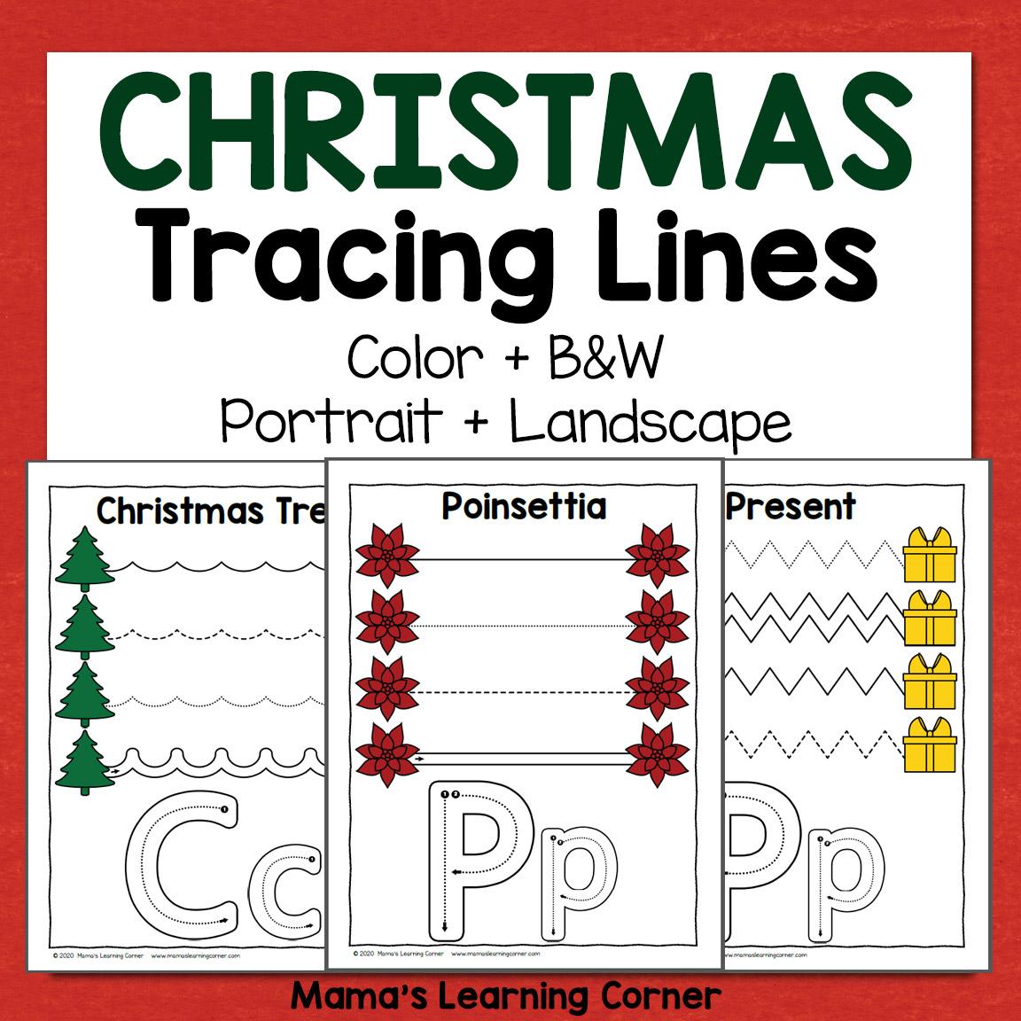Christmas Tracing Worksheets For Preschool