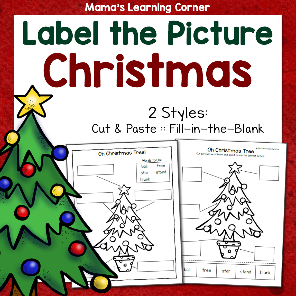Christmas Label The Picture Worksheets