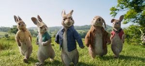 Mopsy (Elizabeth Debicki), Cottontail (Daisy Ridley), Peter Rabbit (James Corden), Benjamin (Colin Moody) and Flopsy (Margot Robbie) in Columbia Pictures' PETER RABBIT.