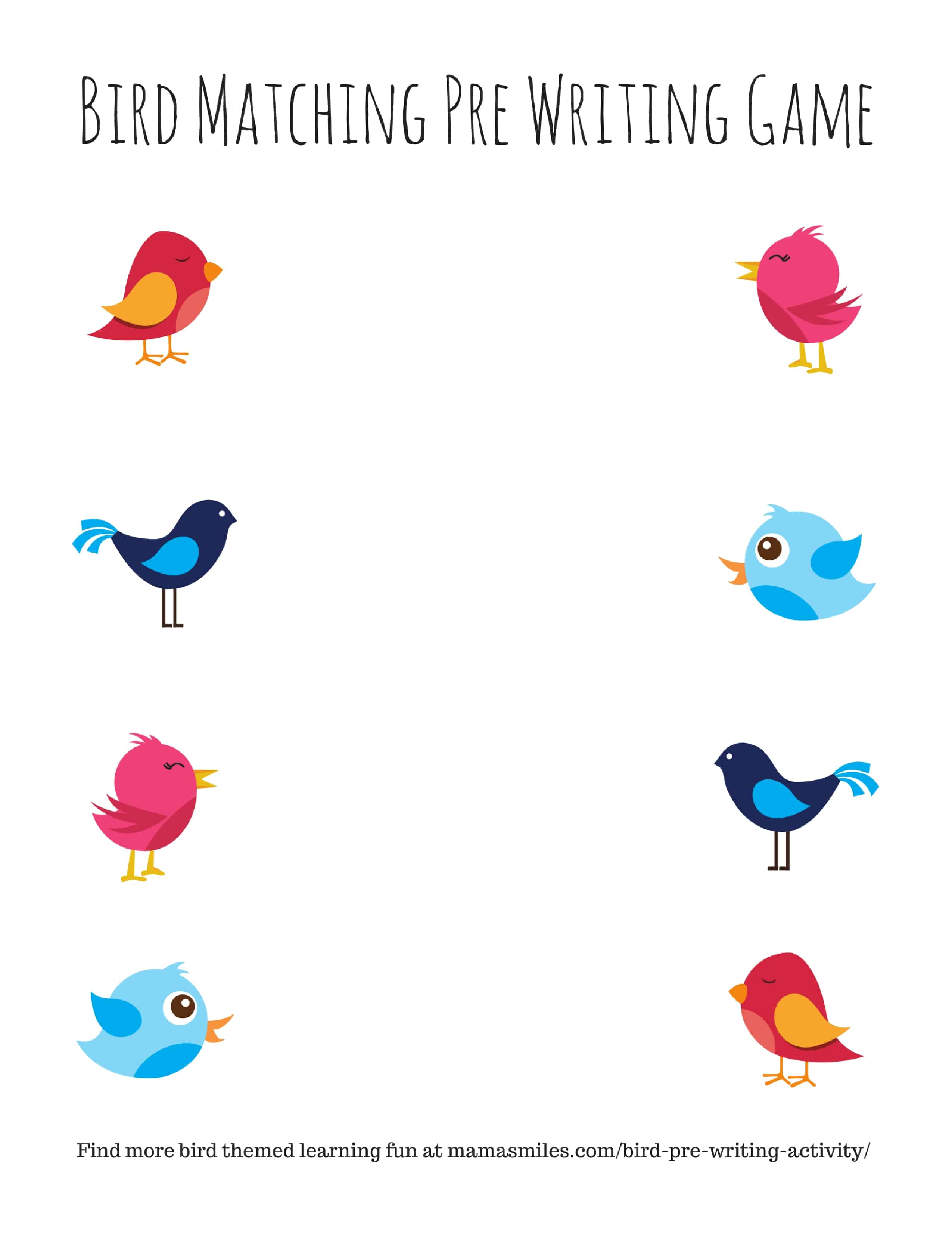 Bird Pre Writing Activity And More Bird Themed Activities For Kids
