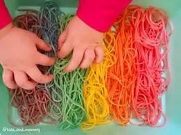 rainbow cooked spaghetti