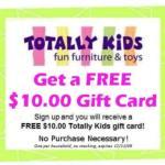 "Gratis $10 tarjeta de regalo de ""Totally Kids"""