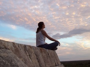 meditacion, mujer, relajacion
