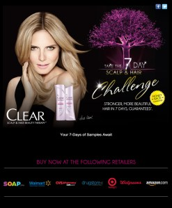 Muestras gratis para 7 días de shampoo y acondicionador Clear Scalp &Hair Beauty Therapy