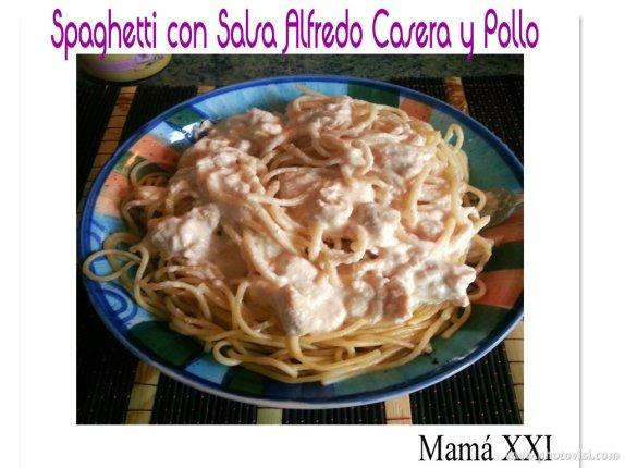 spaghetti salsa alfredo y pollo