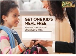Los niños comen GRATIS en Olive Garden el 04/25/2013 con cupón
