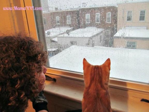 nieve en la ventana