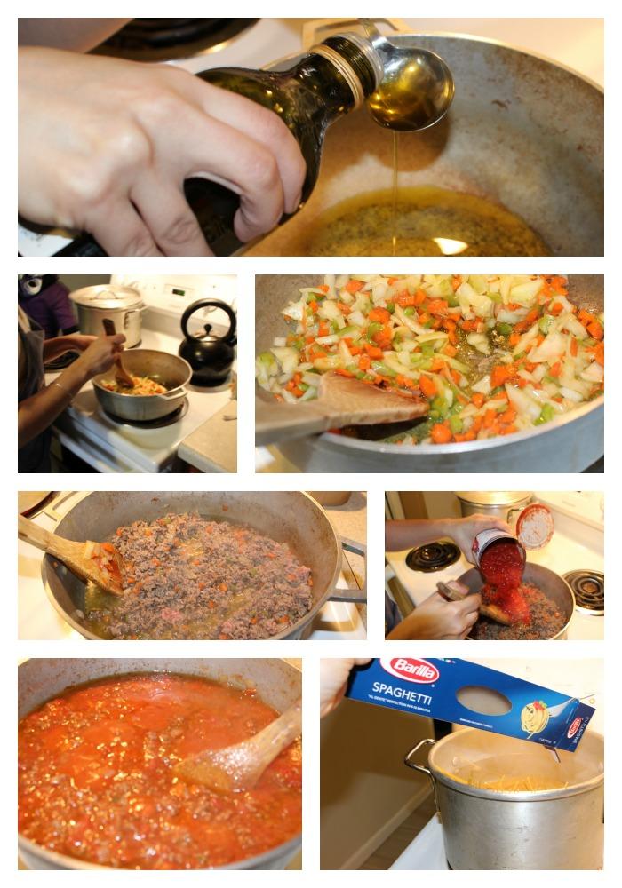 Preparación Espaguetis Barilla® con Salsa de tomate San Marzano y carne