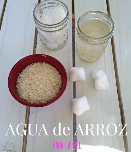 agua de arroz para la piel