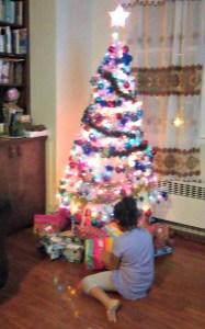 fiestas, familia, árbol navidad, regalos, navidad