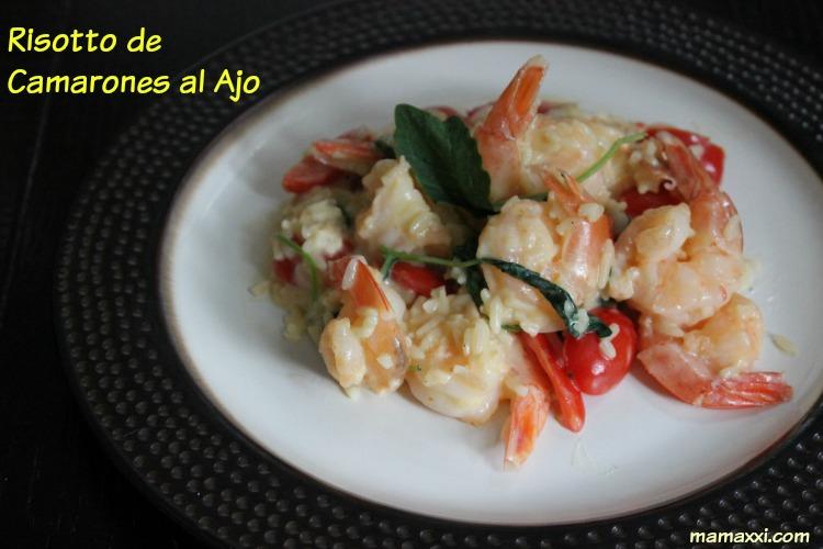 risotto, camarones, ajo, receta, arroz, cuatro quesos