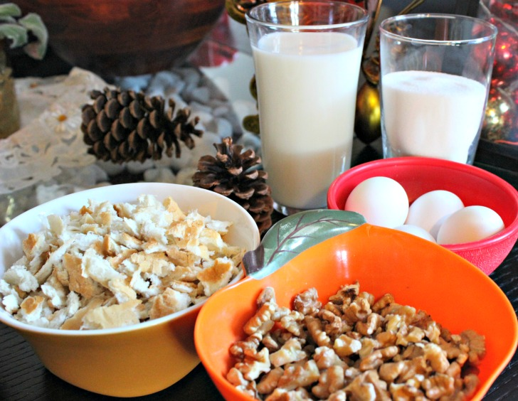 budin de pan, receta, nueces, leche