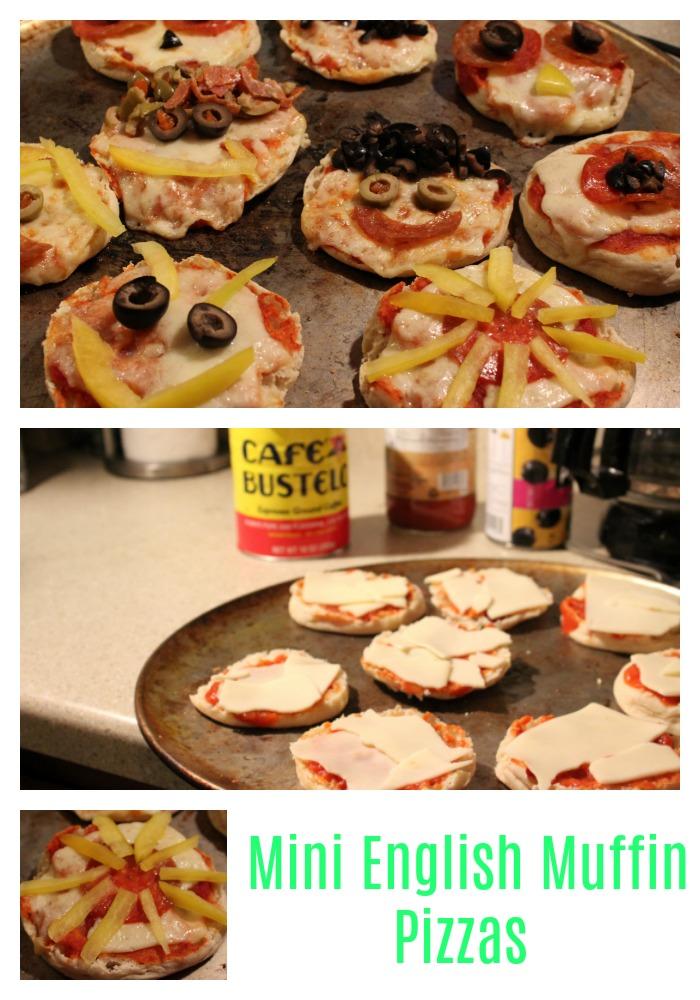 pizzas individuales, english muffins, desayuno, café