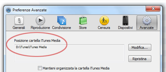 cartella backup itunes