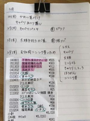 献立ノートで節約効果あり。予定を立て食材を使い切ることで食費一万円減