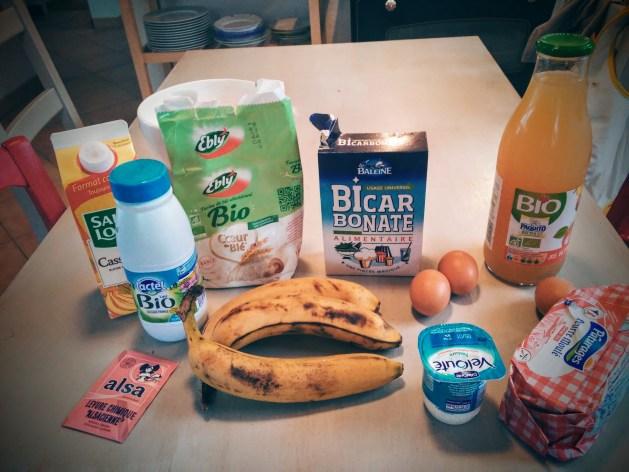 ingrédients pour la banana bread