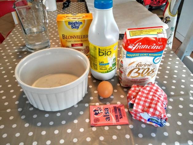 ingrédients pour la pâte sablée à l'amande