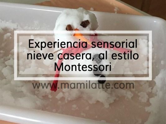 Experiencia sensorial nieve casera, al estilo Montessori