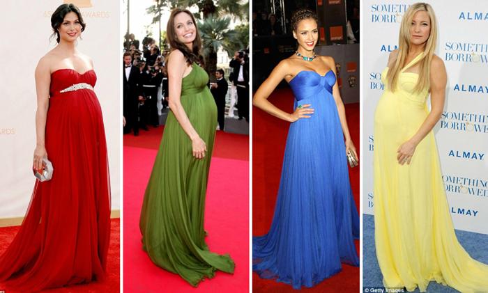 Actrices embarazadas en la alfombra roja