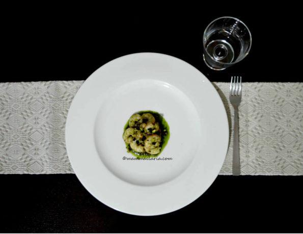 gamberetti al pesto di pistacchi di bronte dop