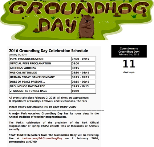2016 Groundhog Day schedule