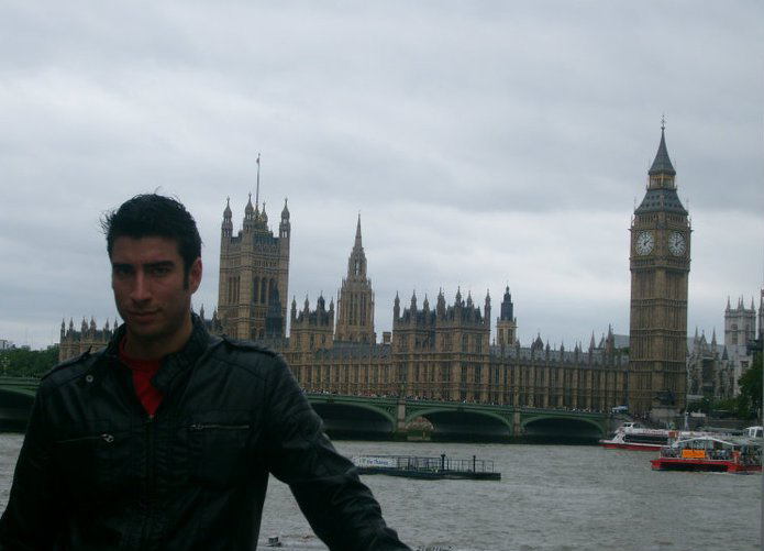 David is pictured by the River Thames shortly after his arrival in London in 2010.