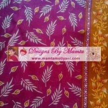 Sheer Fabric Block Print Indian Cotton Berry Pink
