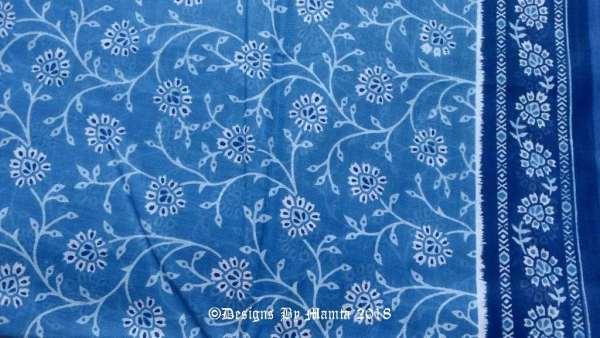 Blue Floral Print Indian Sari Fabric