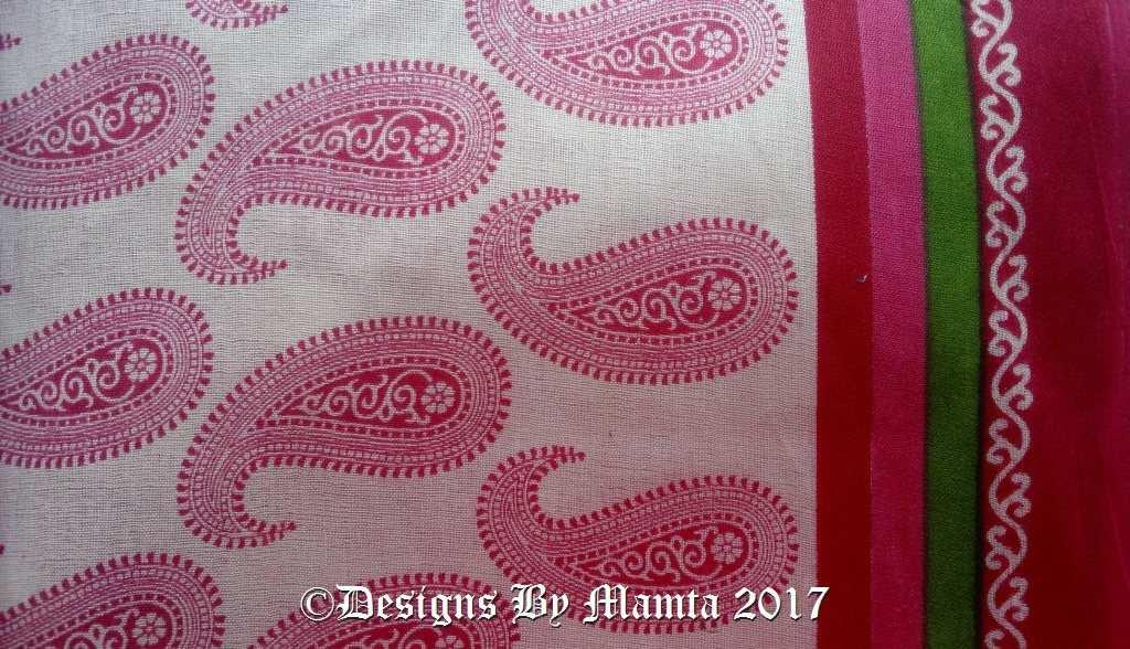 Pink Paisley Print Saree Fabric