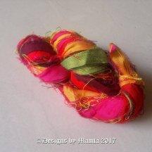 Red Plumeria Sari Silk Yarn Ribbon