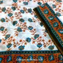 Rose Print Floral Indian Sari Fabric