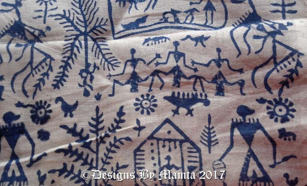 Tribal Warli Print Indian Fabric